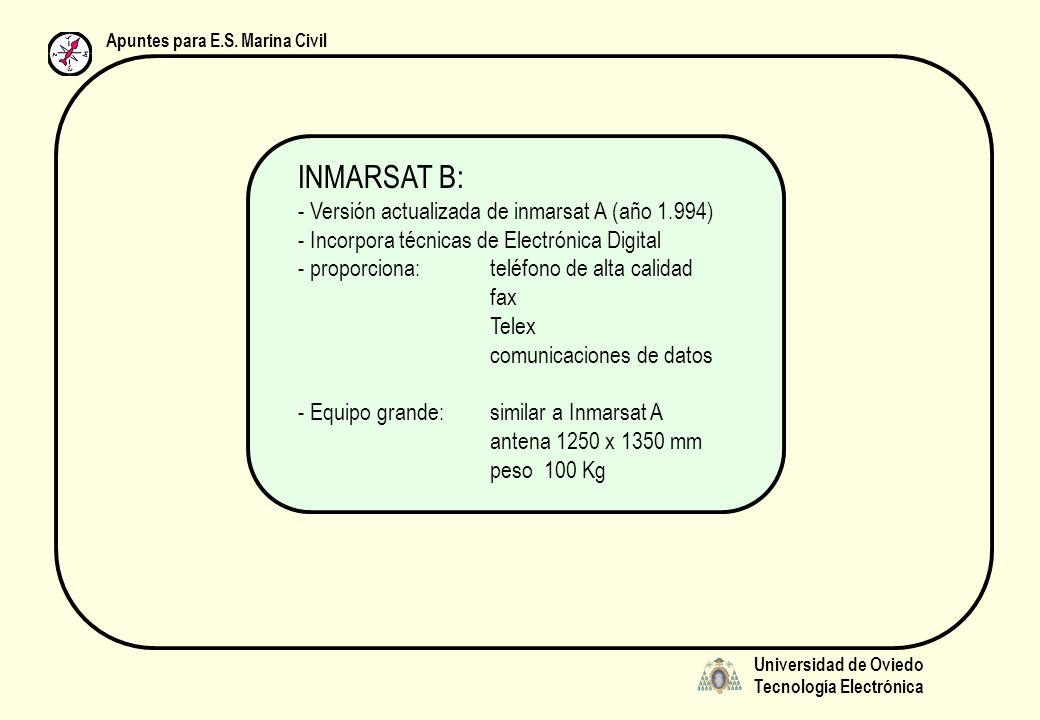 Universidad de Oviedo Tecnología Electrónica Apuntes para E.S. Marina Civil INMARSAT B: - Versión actualizada de inmarsat A (año 1.994) - Incorpora té