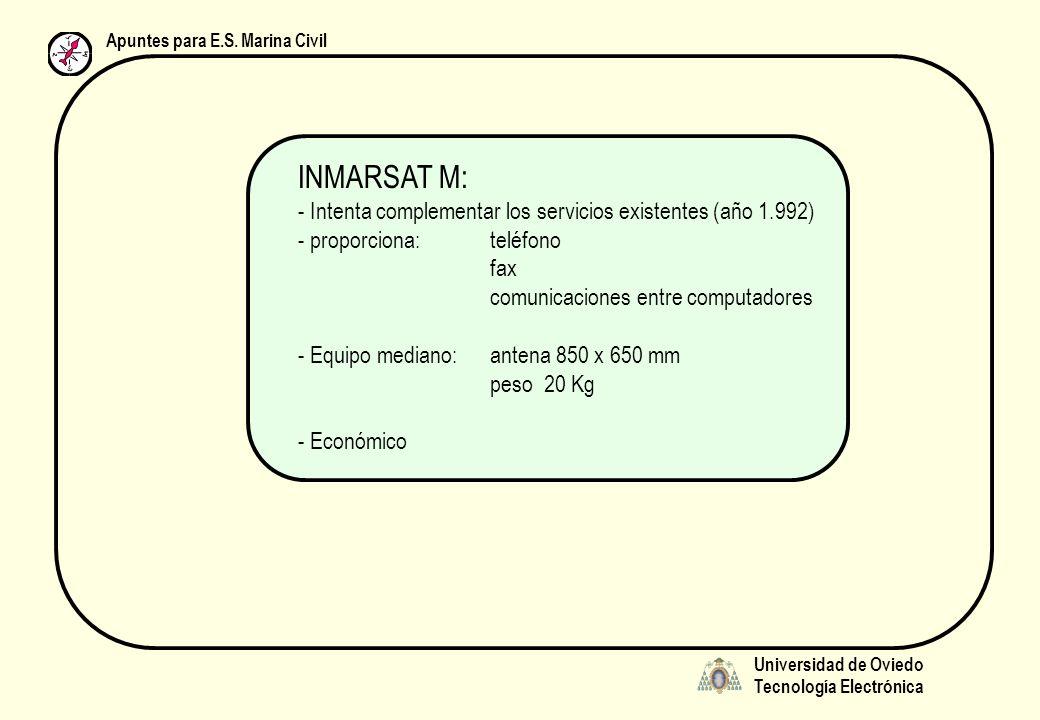 Universidad de Oviedo Tecnología Electrónica Apuntes para E.S. Marina Civil INMARSAT M: - Intenta complementar los servicios existentes (año 1.992) -