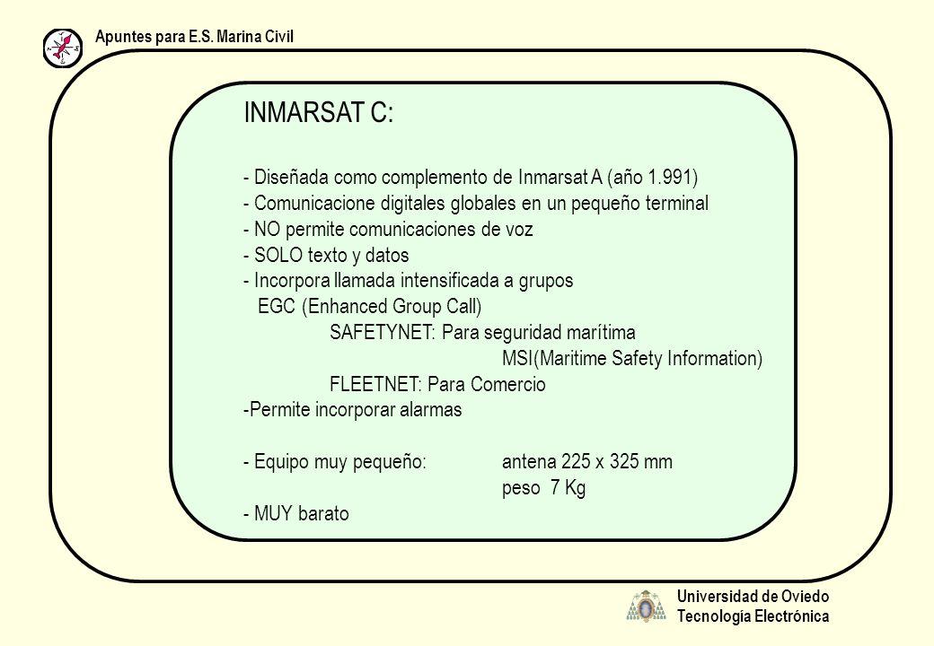 Universidad de Oviedo Tecnología Electrónica Apuntes para E.S. Marina Civil INMARSAT C: - Diseñada como complemento de Inmarsat A (año 1.991) - Comuni