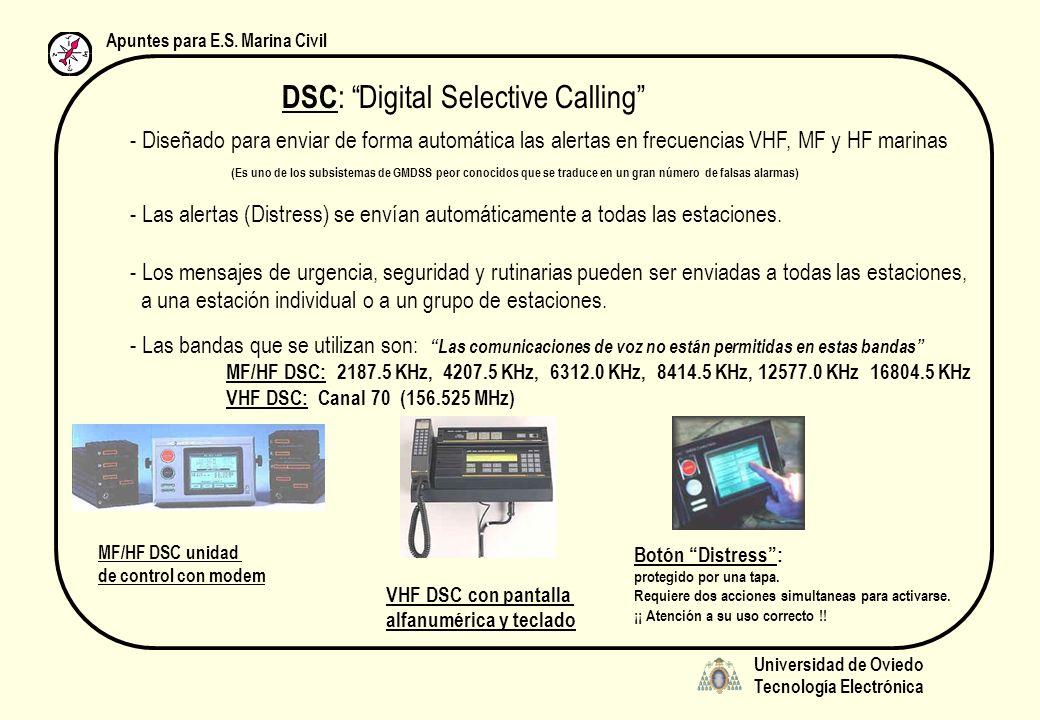 Universidad de Oviedo Tecnología Electrónica Apuntes para E.S. Marina Civil DSC : Digital Selective Calling - Diseñado para enviar de forma automática