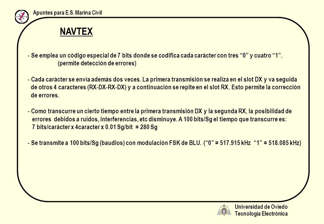 Universidad de Oviedo Tecnología Electrónica Apuntes para E.S. Marina Civil NAVTEX - Se emplea un código especial de 7 bits donde se codifica cada car