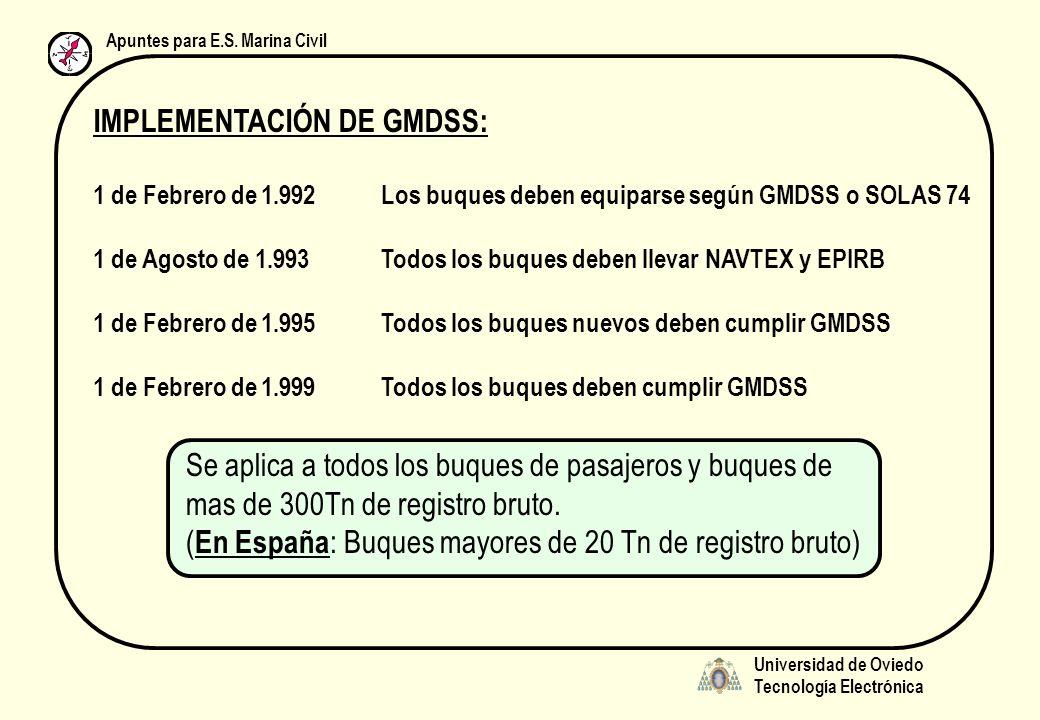 Universidad de Oviedo Tecnología Electrónica Apuntes para E.S. Marina Civil IMPLEMENTACIÓN DE GMDSS: 1 de Febrero de 1.992Los buques deben equiparse s