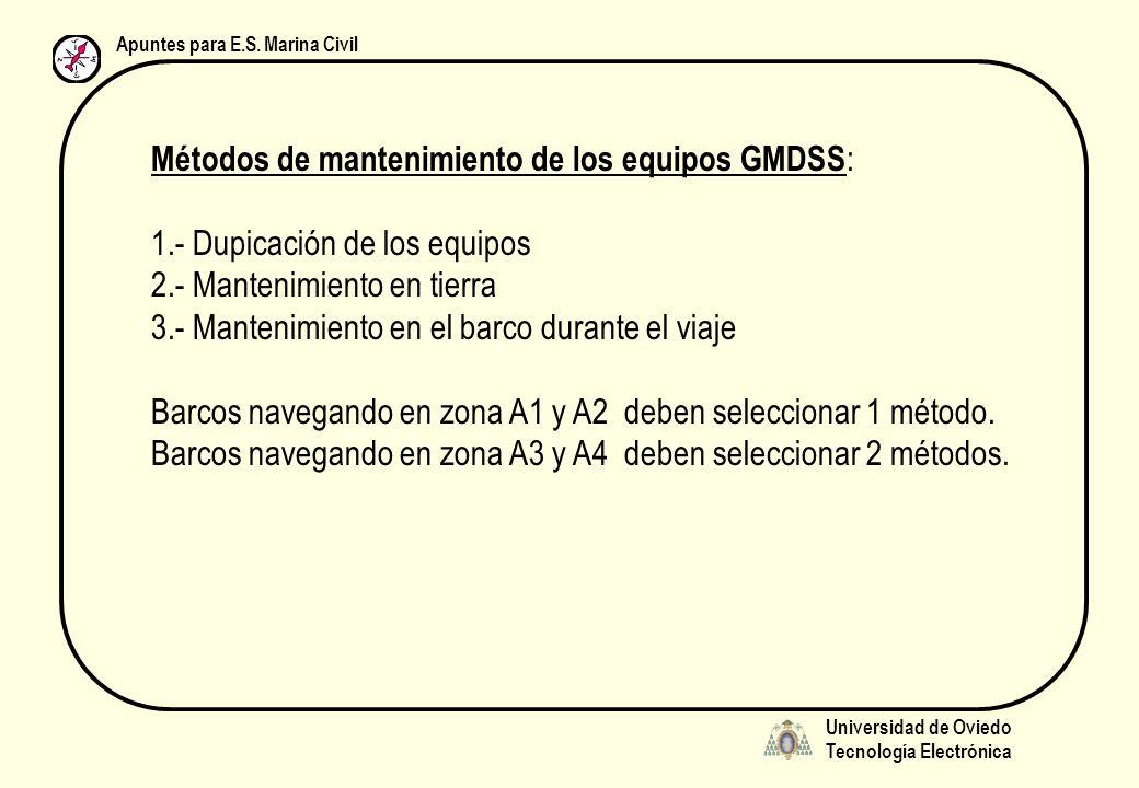 Universidad de Oviedo Tecnología Electrónica Apuntes para E.S. Marina Civil Métodos de mantenimiento de los equipos GMDSS : 1.- Dupicación de los equi