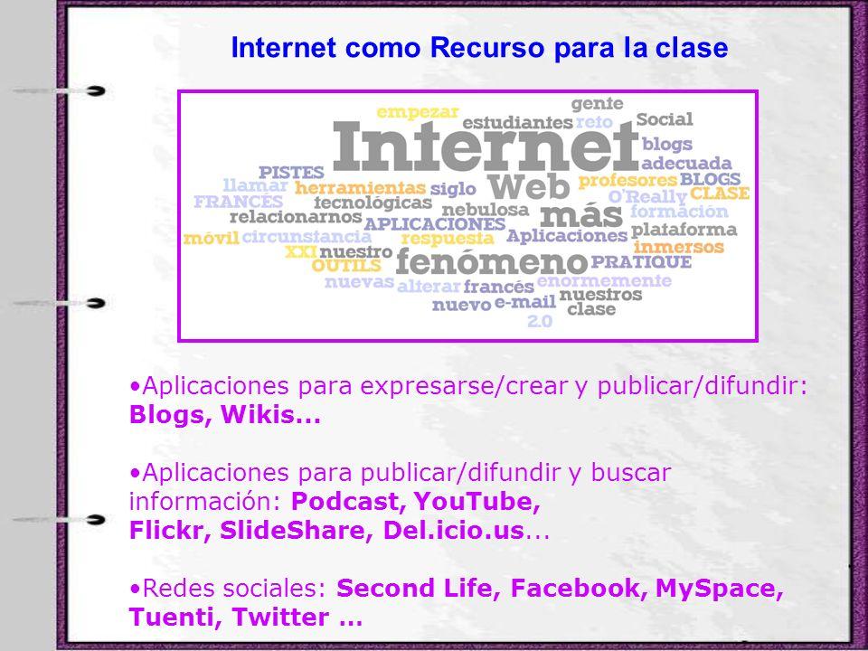 Aplicaciones para expresarse/crear y publicar/difundir: Blogs, Wikis... Aplicaciones para publicar/difundir y buscar información: Podcast, YouTube, Fl
