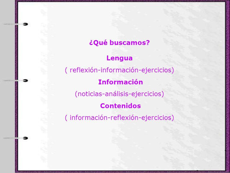 ¿Qué buscamos? Lengua ( reflexión-información-ejercicios) Información (noticias-análisis-ejercicios) Contenidos ( información-reflexión-ejercicios)