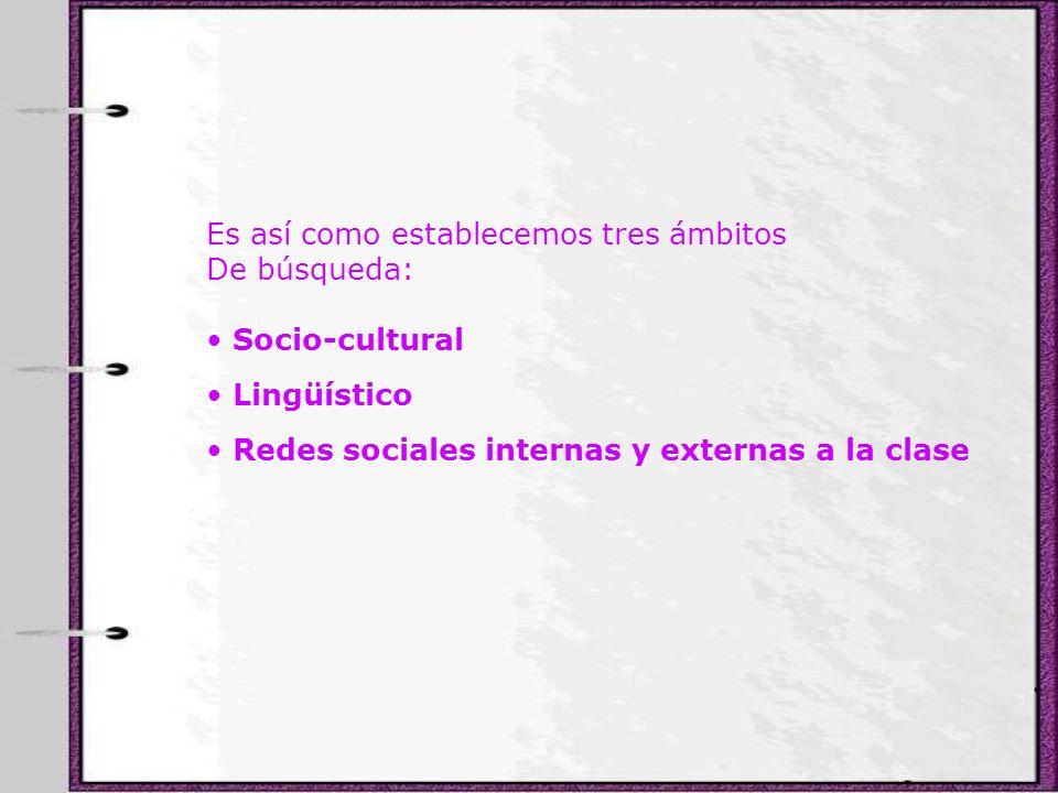 Es así como establecemos tres ámbitos De búsqueda: Socio-cultural Lingüístico Redes sociales internas y externas a la clase