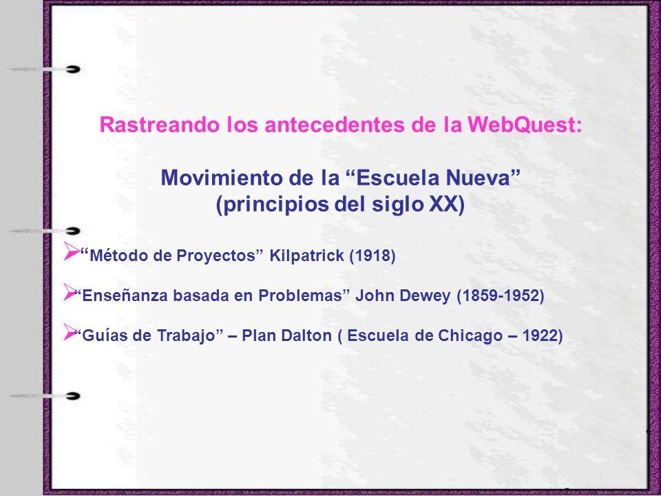 Rastreando los antecedentes de la WebQuest: Movimiento de la Escuela Nueva (principios del siglo XX) Método de Proyectos Kilpatrick (1918) Enseñanza b