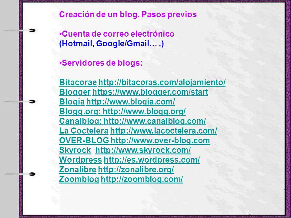 Creación de un blog. Pasos previos Cuenta de correo electrónico (Hotmail, Google/Gmail….) Servidores de blogs: BitacoraeBitacorae http://bitacoras.com