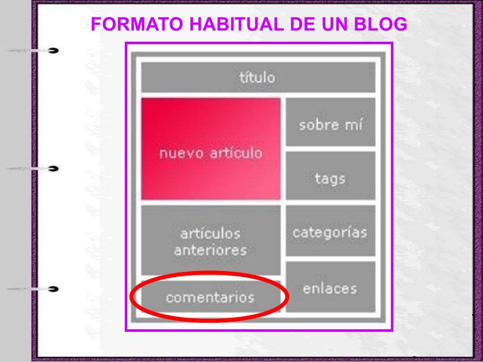 FORMATO HABITUAL DE UN BLOG