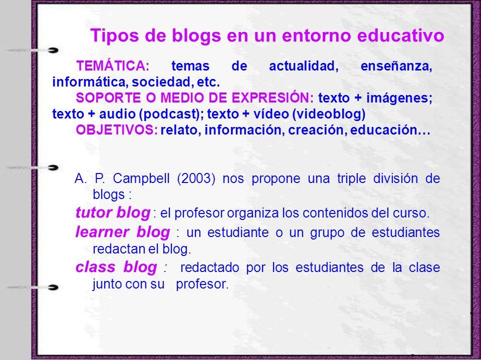 Tipos de blogs en un entorno educativo TEMÁTICA: temas de actualidad, enseñanza, informática, sociedad, etc. SOPORTE O MEDIO DE EXPRESIÓN: texto + imá