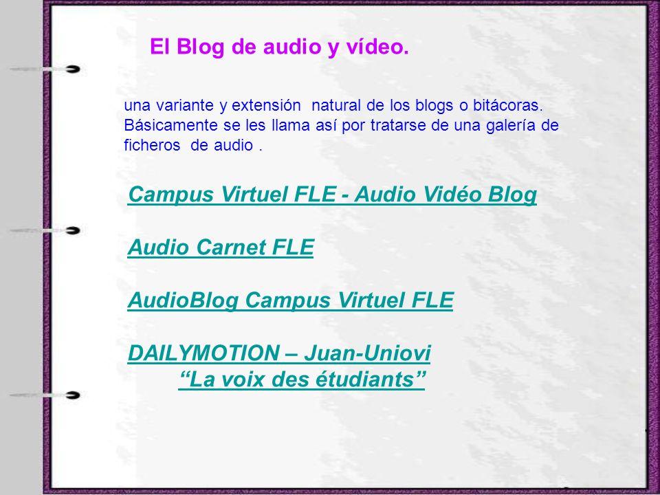El Blog de audio y vídeo. una variante y extensión natural de los blogs o bitácoras. Básicamente se les llama así por tratarse de una galería de fiche