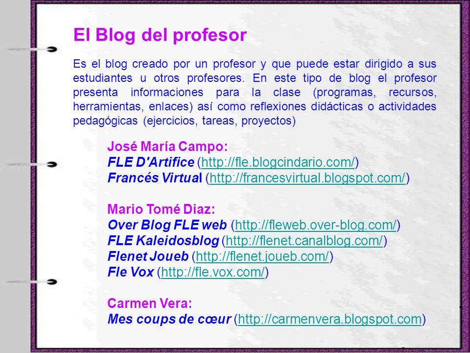 El Blog del profesor Es el blog creado por un profesor y que puede estar dirigido a sus estudiantes u otros profesores. En este tipo de blog el profes