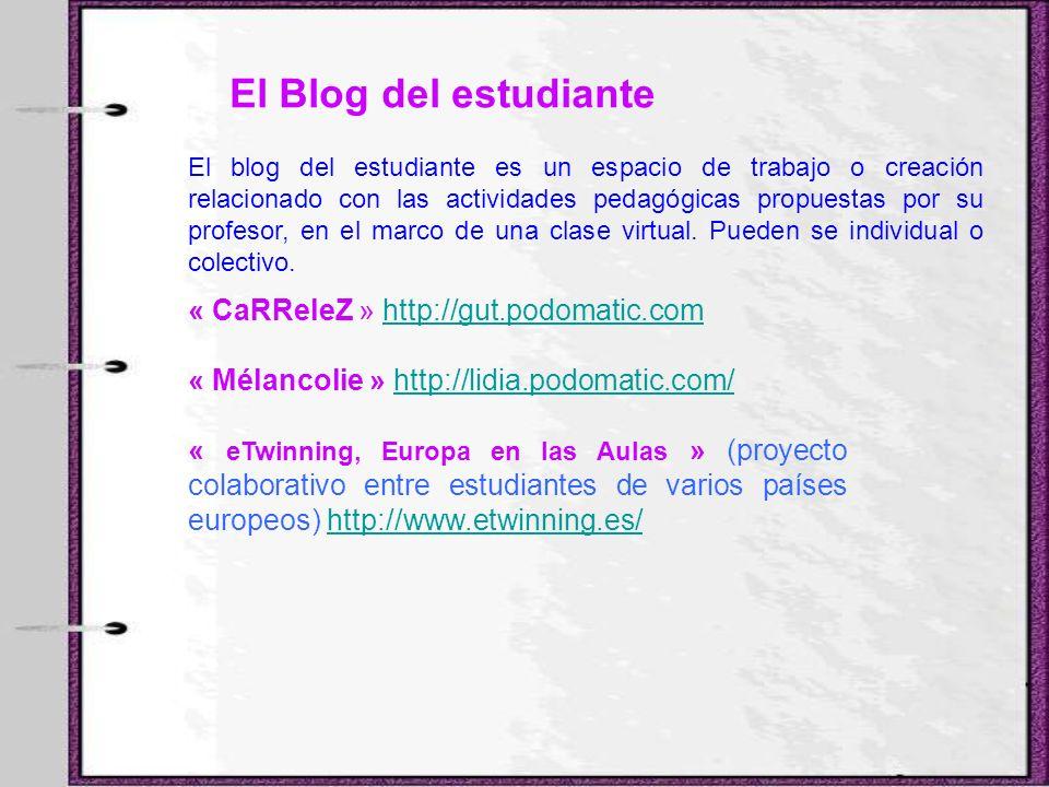 El Blog del estudiante El blog del estudiante es un espacio de trabajo o creación relacionado con las actividades pedagógicas propuestas por su profes