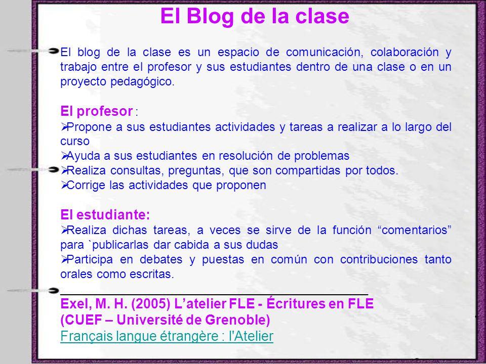 El Blog de la clase El blog de la clase es un espacio de comunicación, colaboración y trabajo entre el profesor y sus estudiantes dentro de una clase