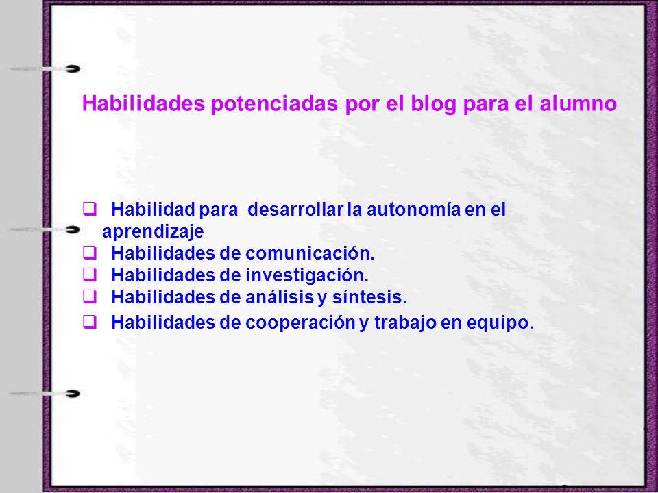 Habilidades potenciadas por el blog para el alumno Habilidad para desarrollar la autonomía en el aprendizaje Habilidades de comunicación. Habilidades
