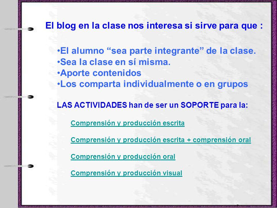 El alumno sea parte integrante de la clase. Sea la clase en sí misma. Aporte contenidos Los comparta individualmente o en grupos LAS ACTIVIDADES han d
