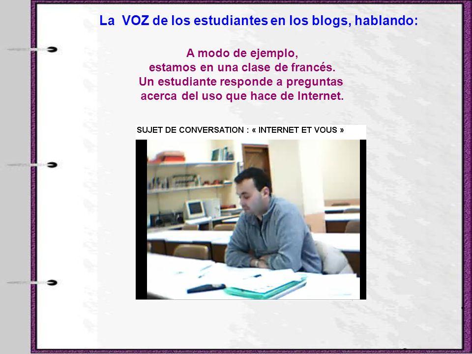 La VOZ de los estudiantes en los blogs, hablando: A modo de ejemplo, estamos en una clase de francés. Un estudiante responde a preguntas acerca del us