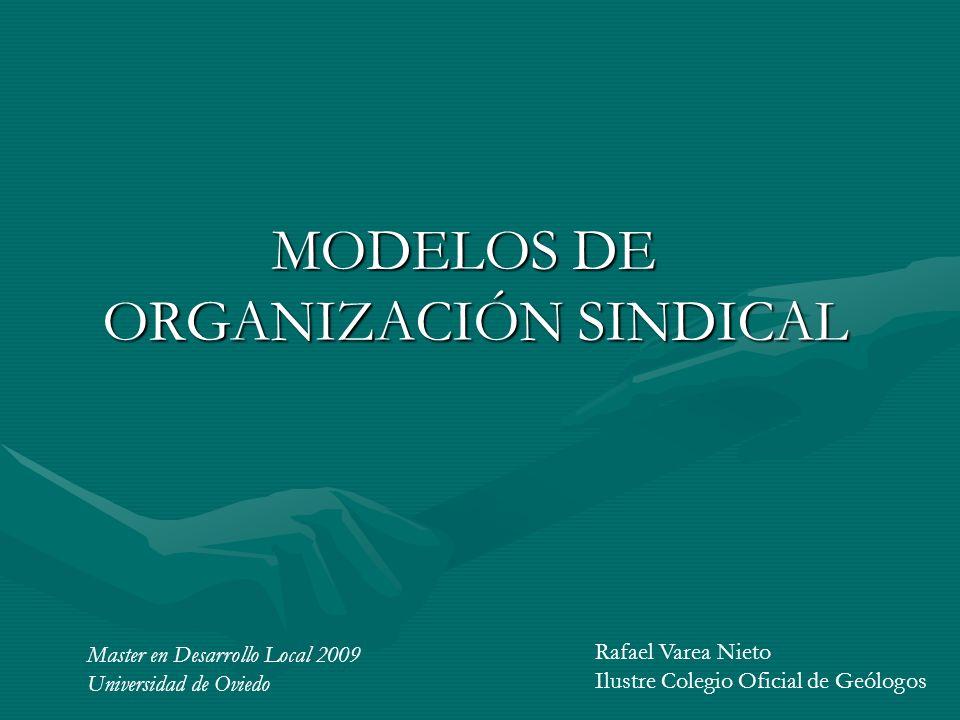 MODELOS DE ORGANIZACIÓN SINDICAL MODELOS DE ORGANIZACIÓN SINDICAL Master en Desarrollo Local 2009 Universidad de Oviedo Rafael Varea Nieto Ilustre Col