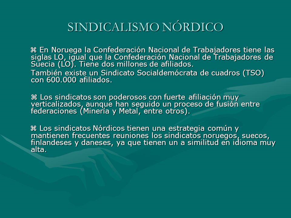 SINDICALISMO NÓRDICO En Noruega la Confederación Nacional de Trabajadores tiene las siglas LO, igual que la Confederación Nacional de Trabajadores de