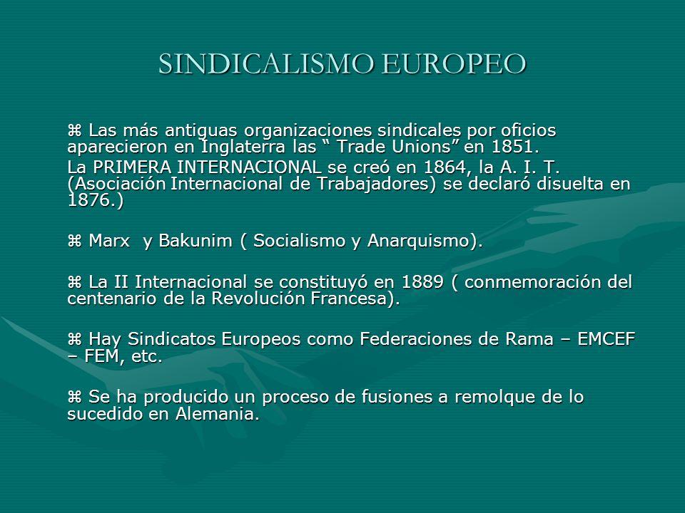 SINDICALISMO EUROPEO Las más antiguas organizaciones sindicales por oficios aparecieron en Inglaterra las Trade Unions en 1851. Las más antiguas organ