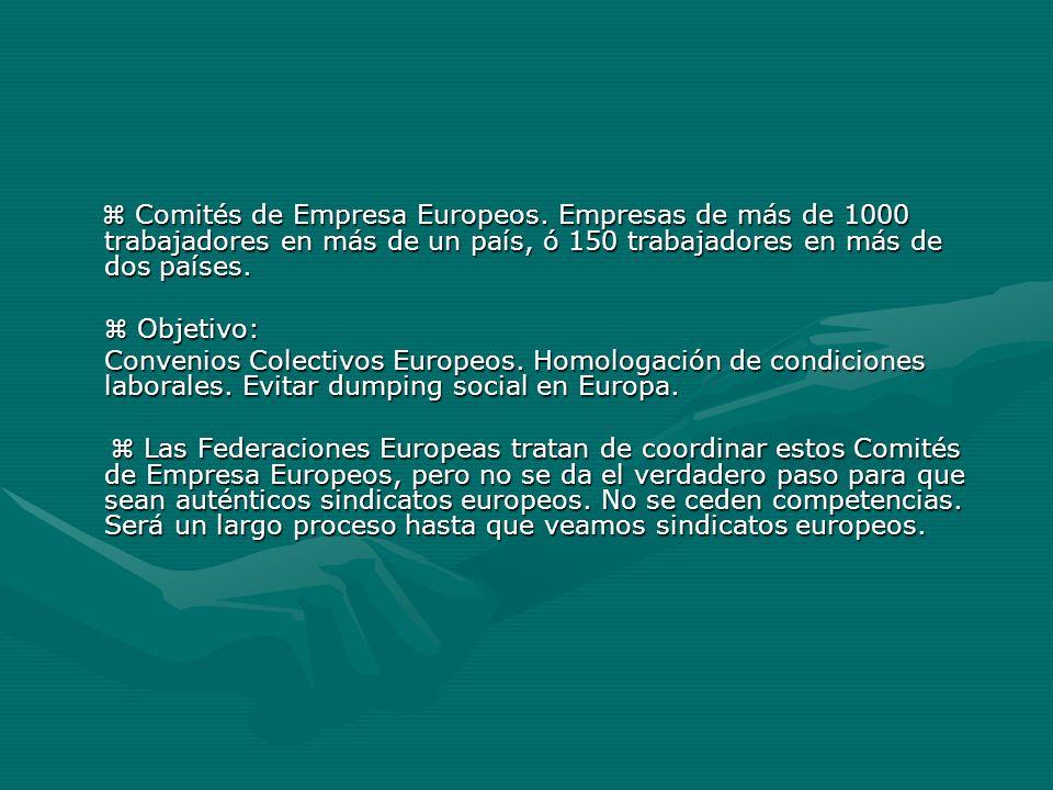 Comités de Empresa Europeos. Empresas de más de 1000 trabajadores en más de un país, ó 150 trabajadores en más de dos países. Comités de Empresa Europ
