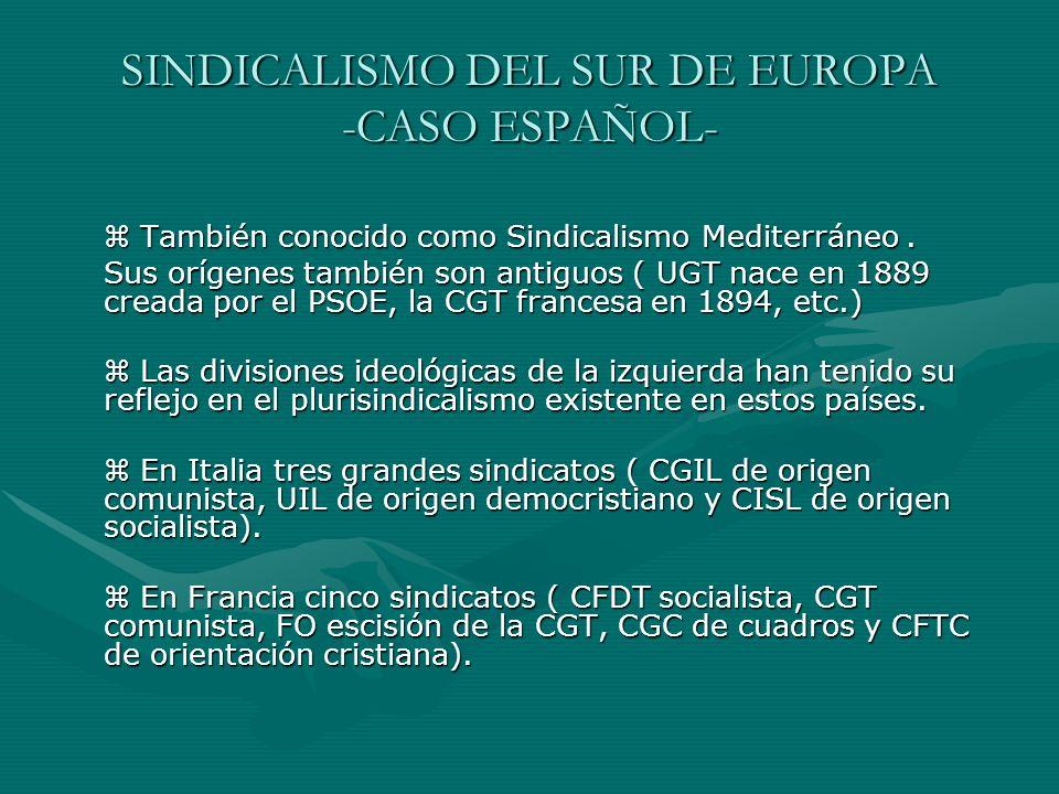 SINDICALISMO DEL SUR DE EUROPA -CASO ESPAÑOL- También conocido como Sindicalismo Mediterráneo. También conocido como Sindicalismo Mediterráneo. Sus or