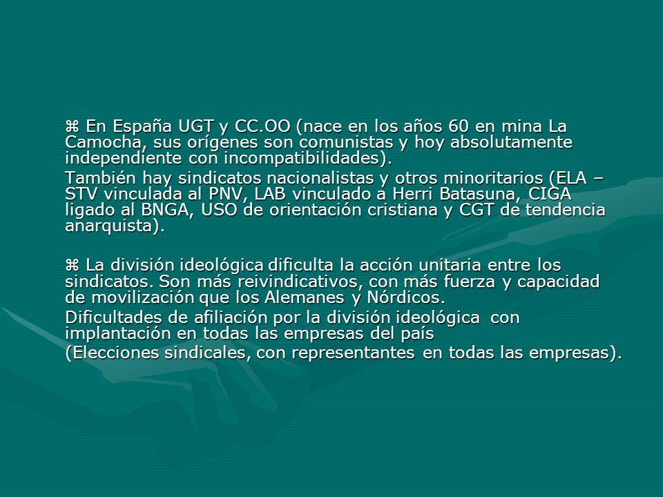 En España UGT y CC.OO (nace en los años 60 en mina La Camocha, sus orígenes son comunistas y hoy absolutamente independiente con incompatibilidades).