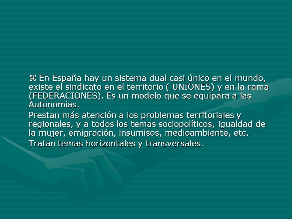 En España hay un sistema dual casi único en el mundo, existe el sindicato en el territorio ( UNIONES) y en la rama (FEDERACIONES). Es un modelo que se