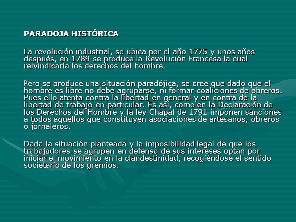 PARADOJA HISTÓRICA La revolución industrial, se ubica por el año 1775 y unos años después, en 1789 se produce la Revolución Francesa la cual reivindic
