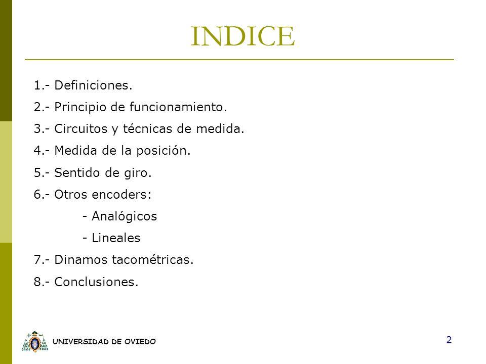UNIVERSIDAD DE OVIEDO 2 INDICE 1.- Definiciones. 2.- Principio de funcionamiento. 3.- Circuitos y técnicas de medida. 4.- Medida de la posición. 5.- S