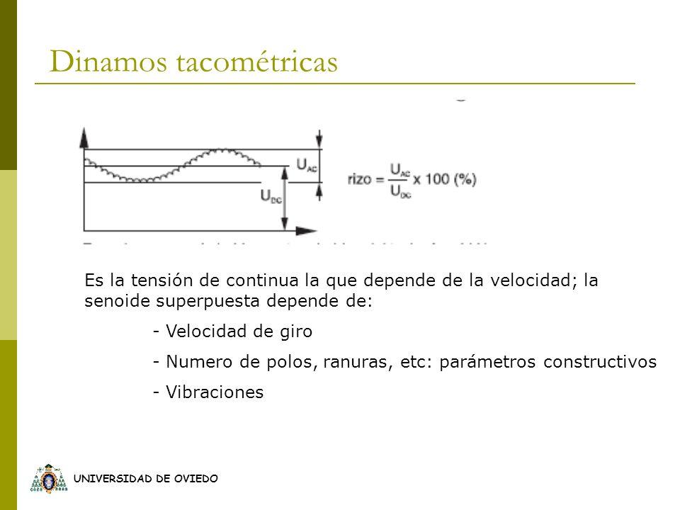 UNIVERSIDAD DE OVIEDO Es la tensión de continua la que depende de la velocidad; la senoide superpuesta depende de: - Velocidad de giro - Numero de pol