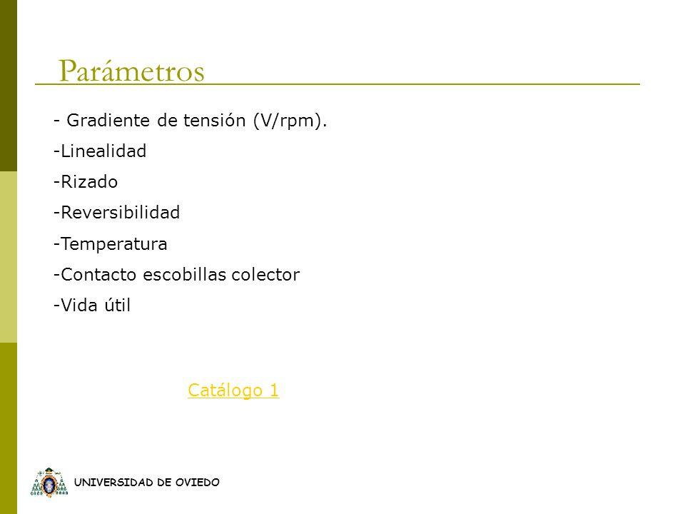 UNIVERSIDAD DE OVIEDO Parámetros - Gradiente de tensión (V/rpm). -Linealidad -Rizado -Reversibilidad -Temperatura -Contacto escobillas colector -Vida