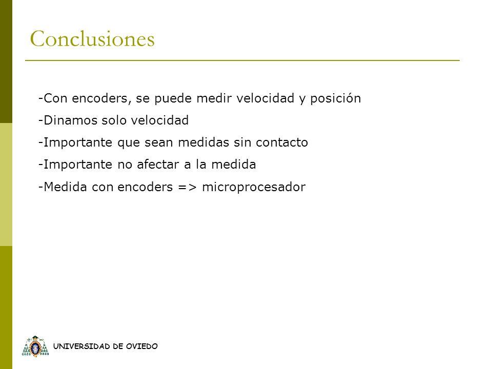UNIVERSIDAD DE OVIEDO Conclusiones -Con encoders, se puede medir velocidad y posición -Dinamos solo velocidad -Importante que sean medidas sin contact