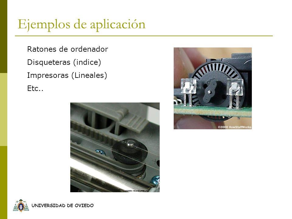 UNIVERSIDAD DE OVIEDO Ejemplos de aplicación Ratones de ordenador Disqueteras (indice) Impresoras (Lineales) Etc..