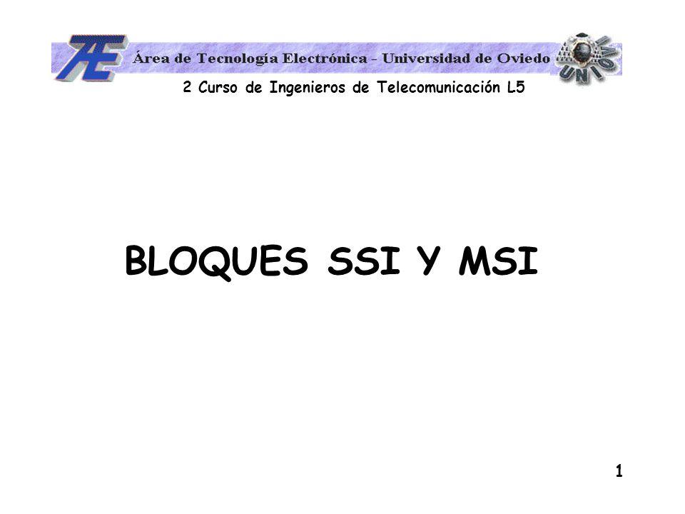 2 Curso de Ingenieros de Telecomunicación L5 2 Circuitos combinacionales Definición: La salida solo depende de la combinación de las variables de entrada Clasificación SSI: 1 a 12 puertas MSI: 13 a 99 puertas LSI: 100 transistores/mm 2 VLSI: 1000 transistores/mm 2 Existen funciones que se repiten de forma habitual: CIRCUITOS SSI y MSI