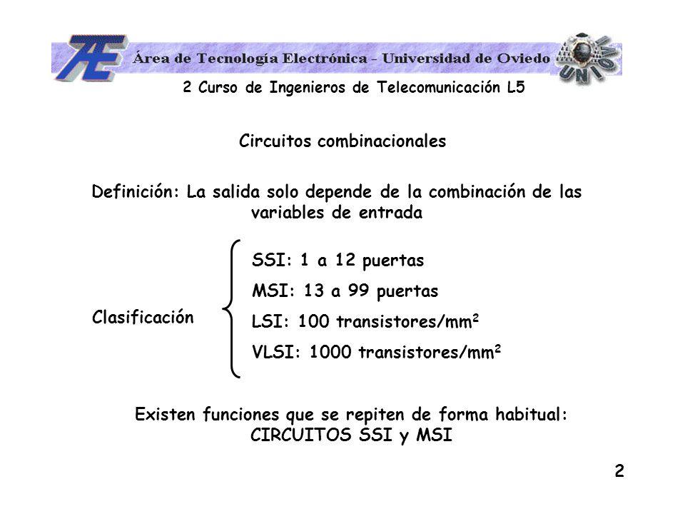 2 Curso de Ingenieros de Telecomunicación L5 2 Circuitos combinacionales Definición: La salida solo depende de la combinación de las variables de entr
