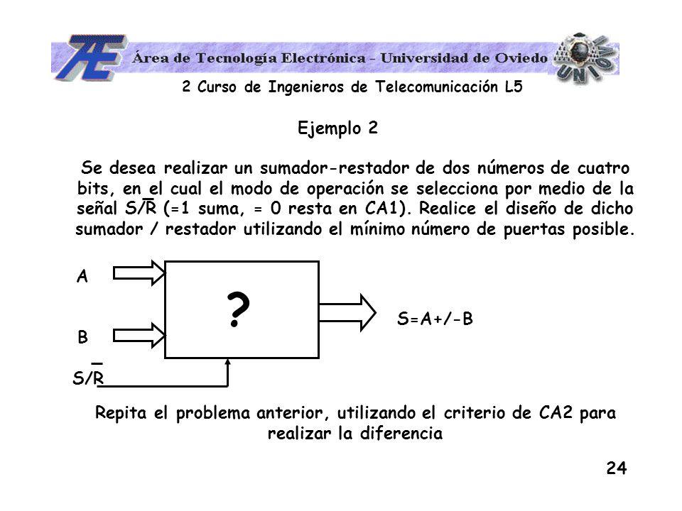 2 Curso de Ingenieros de Telecomunicación L5 24 Ejemplo 2 Se desea realizar un sumador-restador de dos números de cuatro bits, en el cual el modo de o