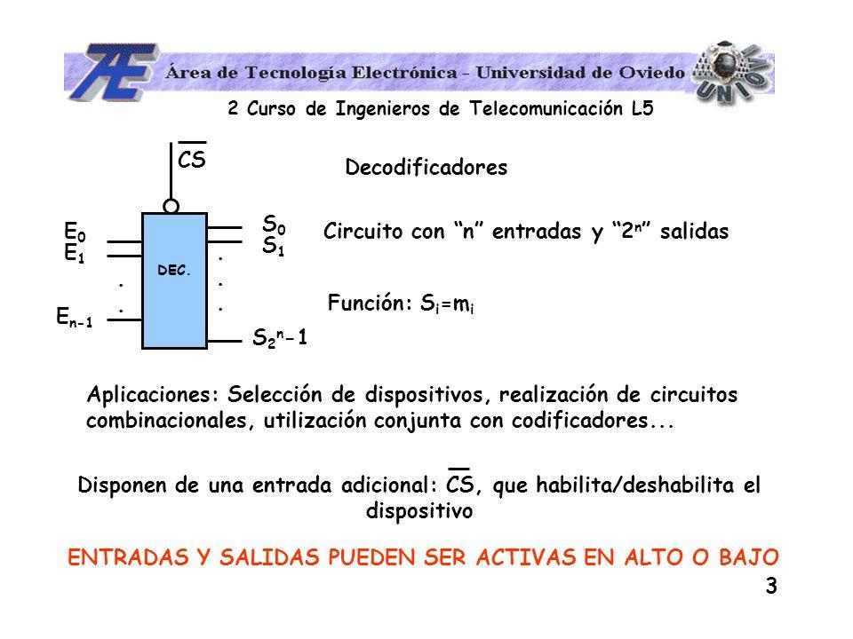 2 Curso de Ingenieros de Telecomunicación L5 3 Decodificadores Circuito con n entradas y 2 n salidas DEC........ E0E0 E1E1 E n-1 S0S0 S1S1 S 2 n -1 Fu