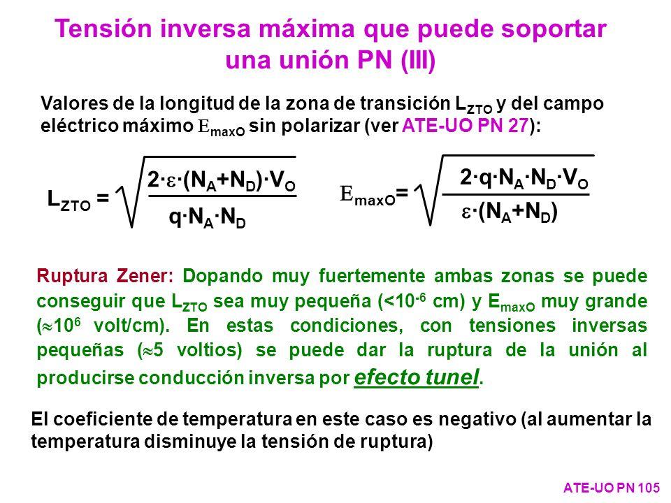 Ruptura Zener: Dopando muy fuertemente ambas zonas se puede conseguir que L ZTO sea muy pequeña (<10 -6 cm) y E maxO muy grande ( 10 6 volt/cm). En es