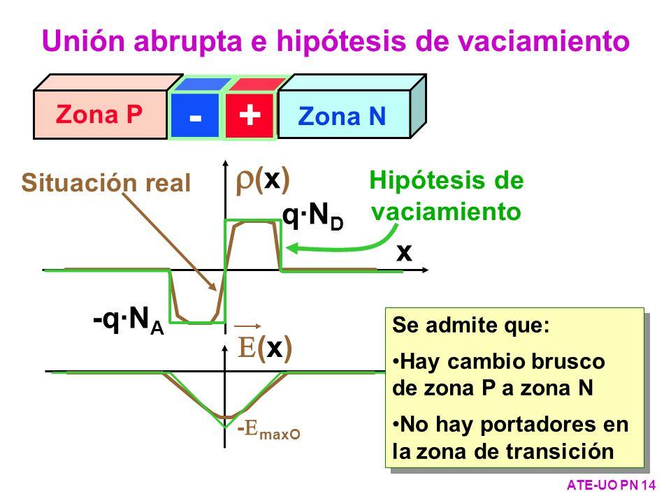Zona P Zona N -+ x (x) - maxO (x) x Situación real -q·N A q·N D Hipótesis de vaciamiento Se admite que: Hay cambio brusco de zona P a zona N No hay po