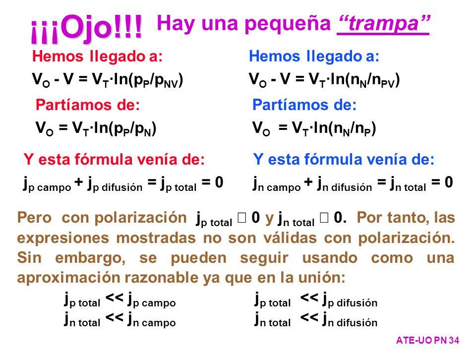 Hemos llegado a: V O - V = V T ·ln(n N /n PV ) Hemos llegado a: V O - V = V T ·ln(p P /p NV ) Partíamos de: V O = V T ·ln(n N /n P ) Partíamos de: V O
