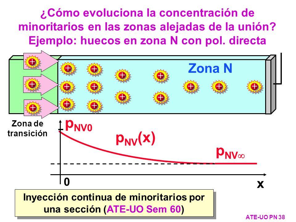 ¿Cómo evoluciona la concentración de minoritarios en las zonas alejadas de la unión? Ejemplo: huecos en zona N con pol. directa ATE-UO PN 38 Zona de t
