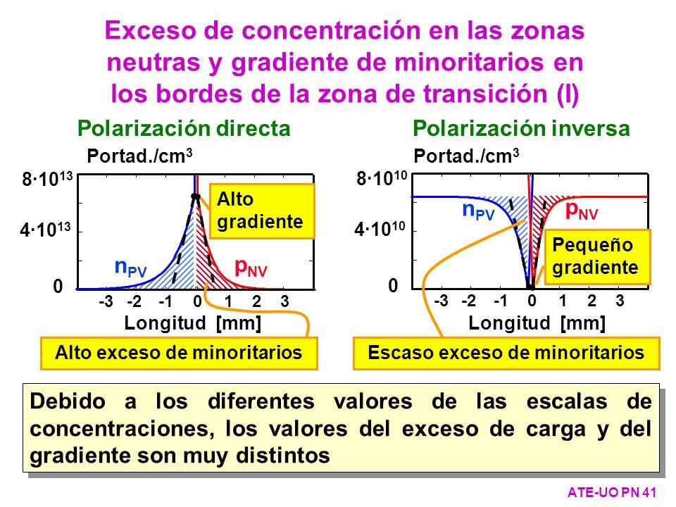 Exceso de concentración en las zonas neutras y gradiente de minoritarios en los bordes de la zona de transición (I) ATE-UO PN 41 Debido a los diferent