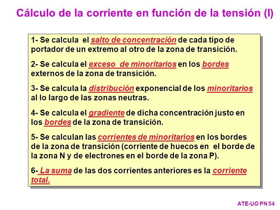 1- Se calcula el salto de concentración de cada tipo de portador de un extremo al otro de la zona de transición. 2- Se calcula el exceso de minoritari