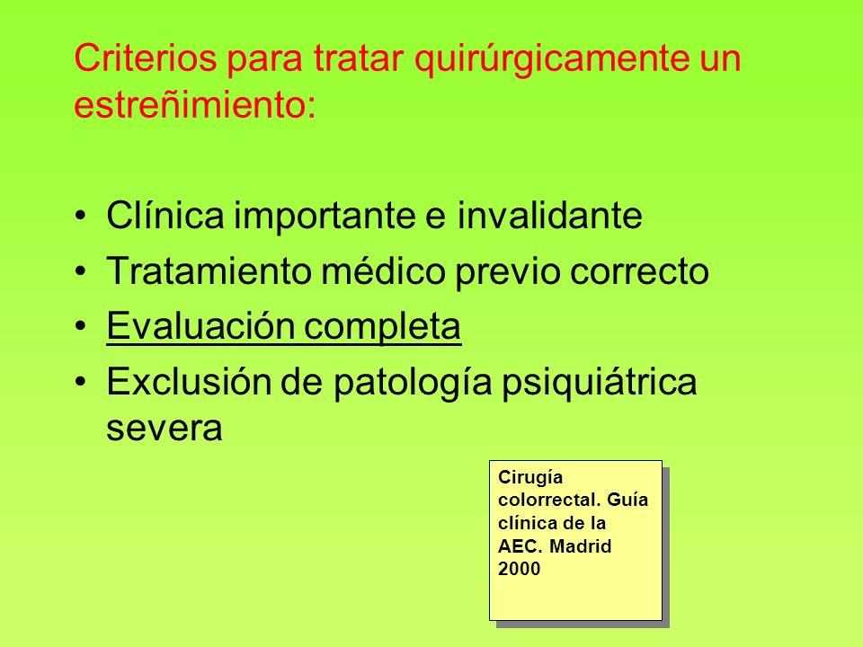 Criterios para tratar quirúrgicamente un estreñimiento: Clínica importante e invalidante Tratamiento médico previo correcto Evaluación completa Exclus