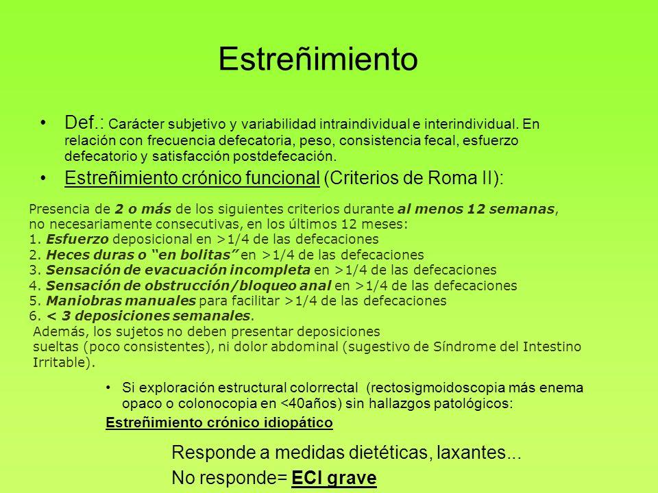 Estreñimiento Def.: Carácter subjetivo y variabilidad intraindividual e interindividual. En relación con frecuencia defecatoria, peso, consistencia fe