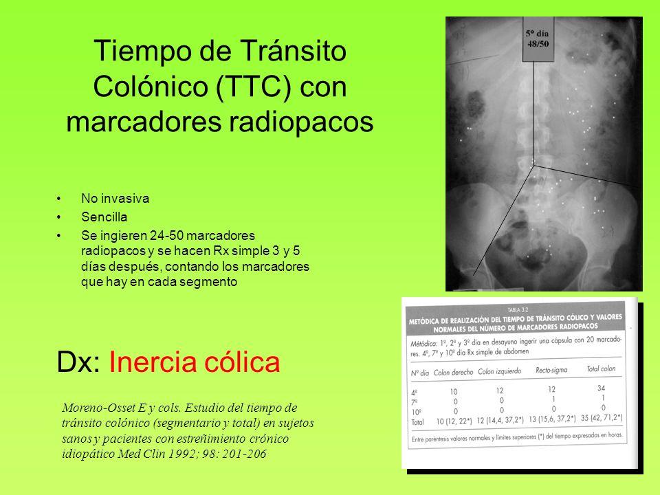 Tiempo de Tránsito Colónico (TTC) con marcadores radiopacos No invasiva Sencilla Se ingieren 24-50 marcadores radiopacos y se hacen Rx simple 3 y 5 dí