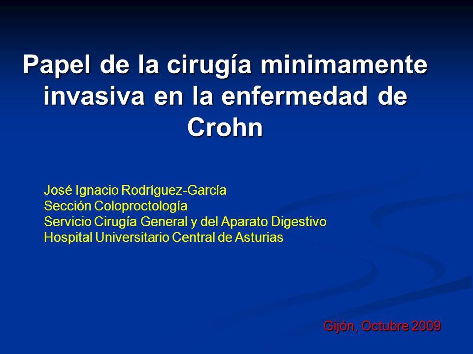 Papel de la cirugía minimamente invasiva en la enfermedad de Crohn Gijón, Octubre 2009 José Ignacio Rodríguez-García Sección Coloproctología Servicio