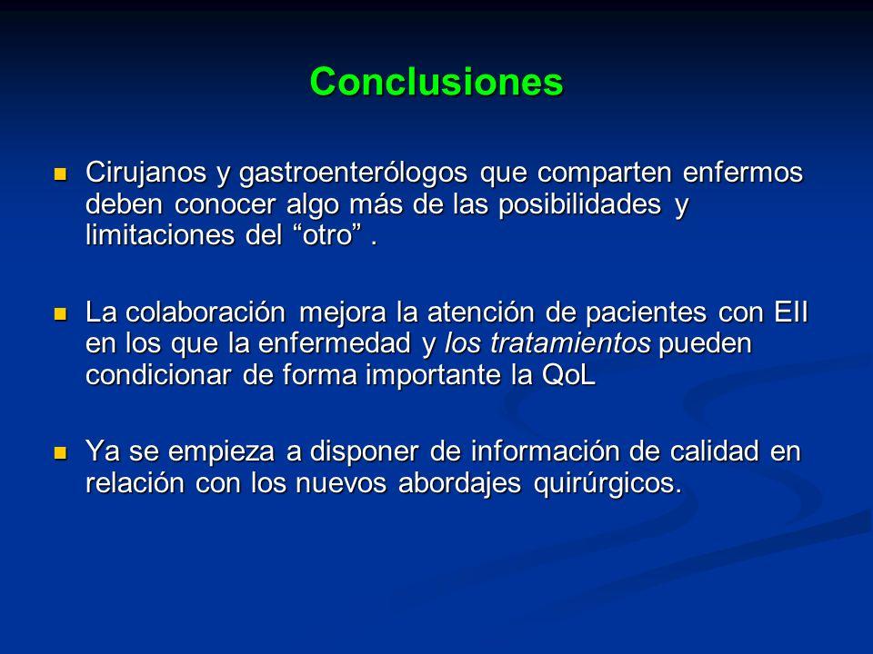Conclusiones Cirujanos y gastroenterólogos que comparten enfermos deben conocer algo más de las posibilidades y limitaciones del otro. Cirujanos y gas