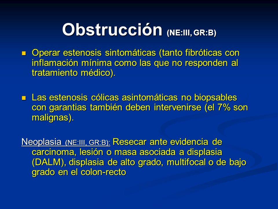 Obstrucción (NE:III, GR:B) Operar estenosis sintomáticas (tanto fibróticas con inflamación mínima como las que no responden al tratamiento médico). Op
